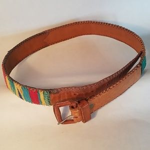 Hand made leather embroidered belt